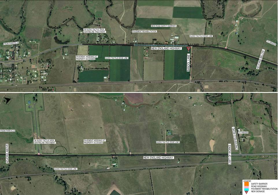 Proposed safety improvements on the New England Highway, north of Parkville