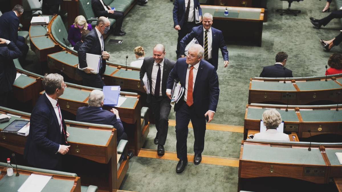 Treasurer Josh Frydenberg and Prime Minister Scott Morrison in the House of Representatives. Picture: Dion Georgopoulos